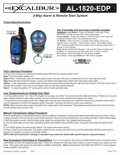 2 Way Alarm Remote Start System Al 1820 Edp Omegarep Com