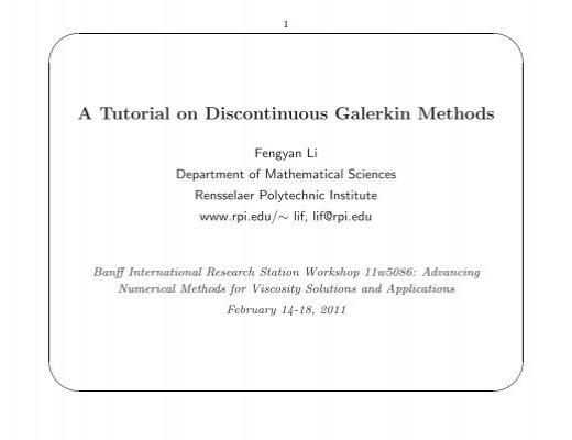 Discontinuous galerkin methods for hyerbolic pdes: 1