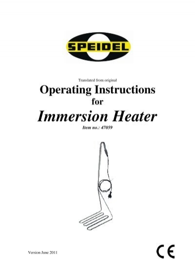 Operating Instructions For Immersion Heater Speidel Tank