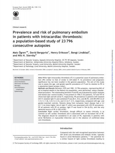 Prevalence and risk of pulmonary embolism in patients with ...