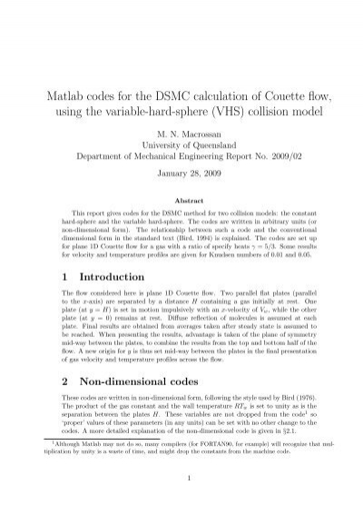 Matlab codes for the DSMC calculation of Couette - UQ eSpace