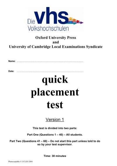 quick placement test rh yumpu com