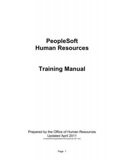 peoplesoft human resources training manual university of hawaii rh yumpu com peoplesoft training manual general ledger peoplesoft training manuals free