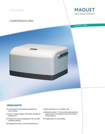 Highlights Data Sheet Compressor Mini Maquet