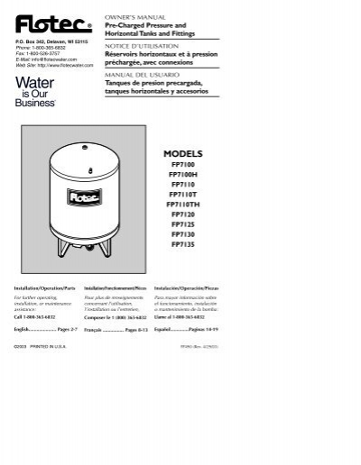 Flotec In-Line Pre-Charged Water System Tank Model# FP7100 15 Gallon Capacity