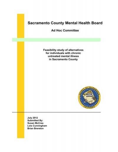 Sacramento County Mental Health Board Ad Hoc Committee