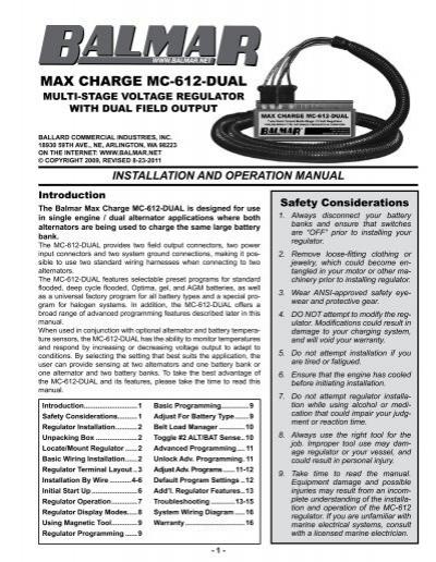 6795414 max charge mc 612 dual (sept 2009 and balmar  at bakdesigns.co