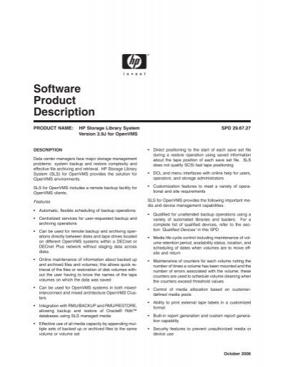 software product description - openvms systems