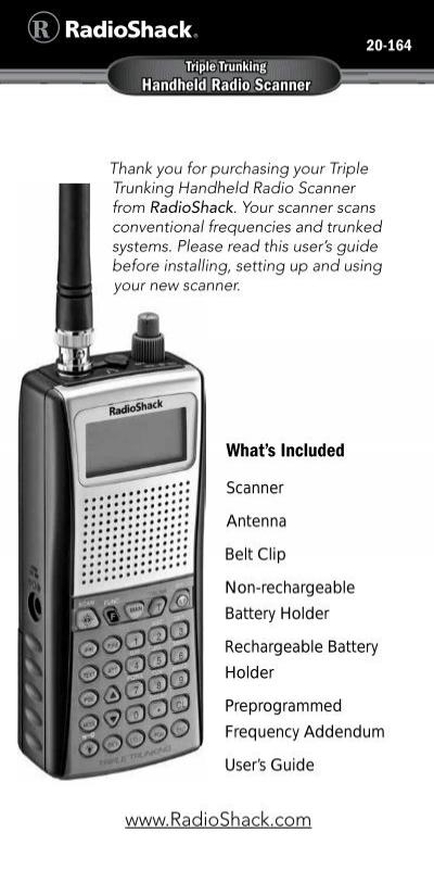 pro 164 manual radio shack rh yumpu com Radio Shack Scanner Programming Radio Shack Pro 2055 Scanner Manuals