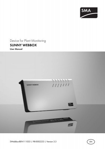 sunny webbox user manual sma solar technology ag rh yumpu com SMA Bluetooth SMA Monitoring