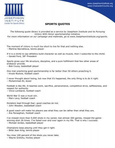 Sports Quotes Josephson Institute Of Ethics