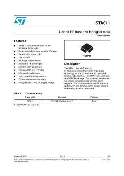 L band rf front end for digital radio stmicroelectronics ccuart Image collections