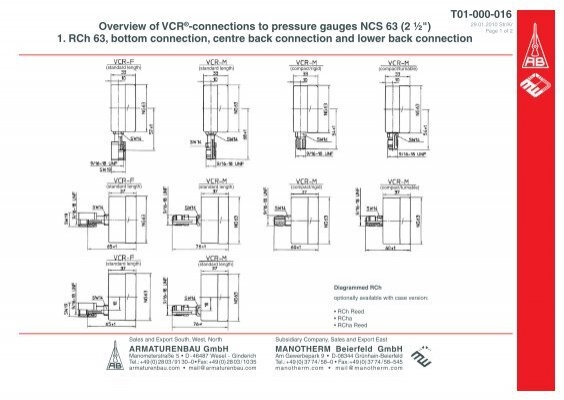 T01-000-016 Overview of VCR®-connections to pressure gauges ...