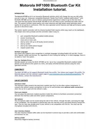 motorola ihf1000 bluetooth car kit installation tutorial rh yumpu com Instruction Manual Book Owner's Manual