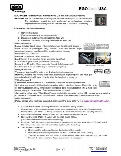 ego dash ts bluetooth hands free car kit installation guide rh yumpu com Toyota Forklift Owner Manual 92 Toyota Dyna Owner's Manual