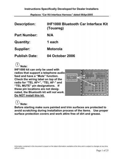 description ihf1000 bluetooth car interface kit touareg part rh yumpu com Toyota Tacoma 4x4 Manual Transmission Toyota Camry Owners Manual