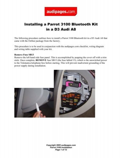 Installing A Parrot 3100 Bluetooth Kit In A D3 Audi A8