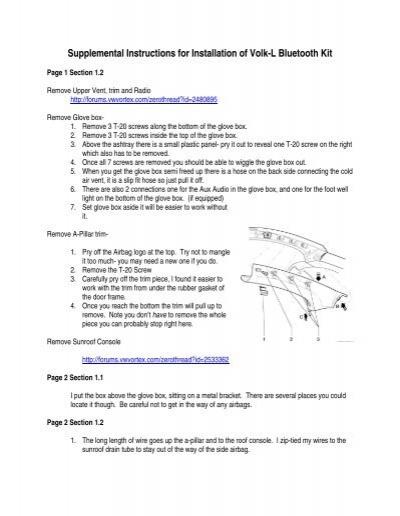 Supplemental Instructions for Installation of Volk-L