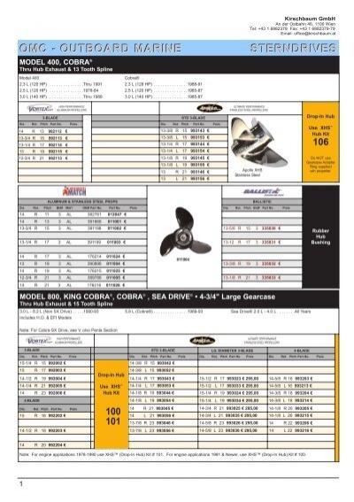 Michigan Match 14 1//4 x 21 011009 Prop OMC Model 800 King Cobra Cobra Sea Drive