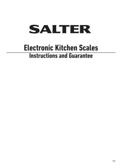 Electronic Kitchen Scales Instructions And Guarantee Homedics