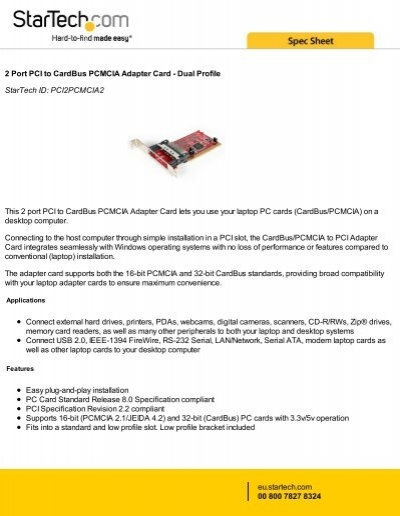 2 Port PCI To CardBus PCMCIA Adapter Card