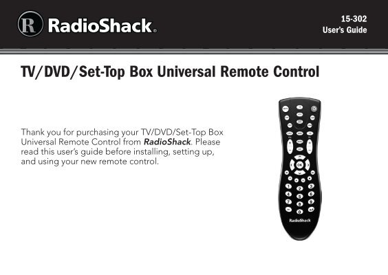 tv dvd set top box universal remote control radio shack rh yumpu com Direct TV Remote Manual AT&T U-verse Remote Manual