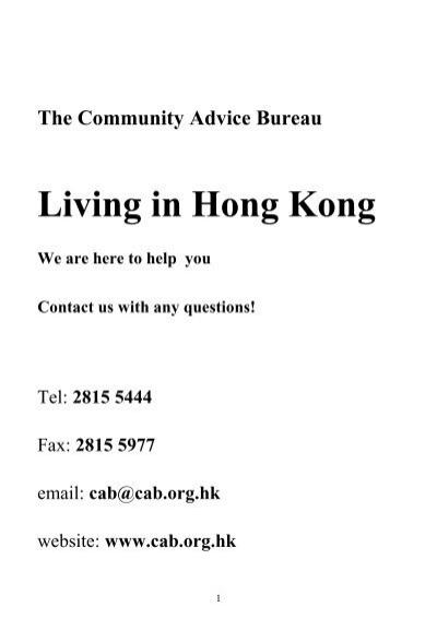 Living In Hong Kong - Community Advice Bureau
