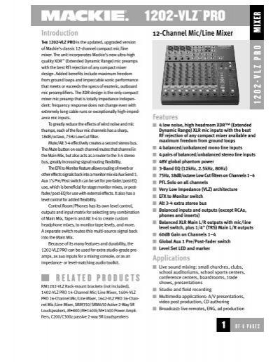 1202 vlz pro 12 channel mic line mixer spec sheet mackie. Black Bedroom Furniture Sets. Home Design Ideas