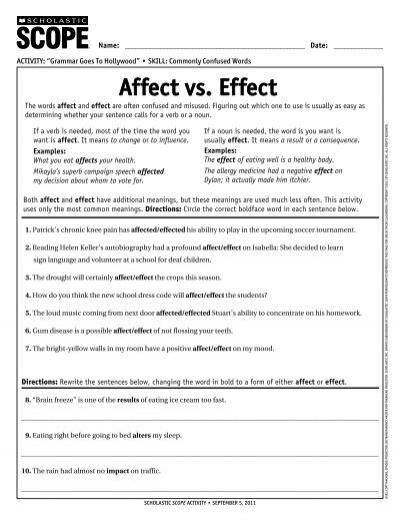 affect vs  effect - Scholastic