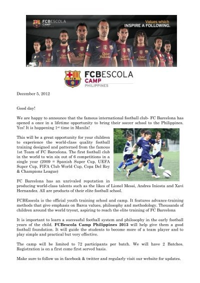 Camp Invitation Letter Fcbescola Philippines