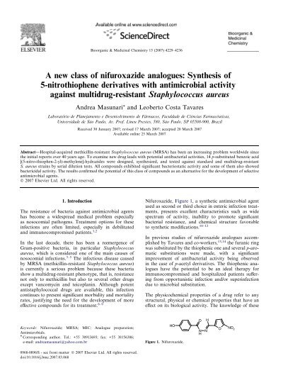 A new class of nifuroxazide analogues: Synthesis of 5