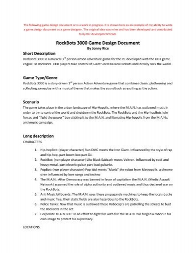 Rockbots 3000 game design document jonny rice video game rockbots 3000 game design document jonny rice video game fandeluxe Gallery