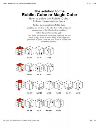 Rubiks Cube Solution Easy To Follow Printable Instructions