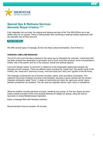 Special Spa Wellness Services Iberostar Royal Cristina
