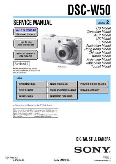 service manual of sony dsc w50 digital camera sonyrus rh yumpu com sony cyber shot dsc w50 user manual sony cyber shot dsc w50 manual pdf
