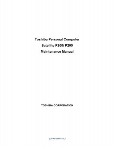toshiba personal computer satellite p200 p205 maintenance dexid rh yumpu com Toshiba Satellite User Manual Toshiba Satellite Laptops Manual