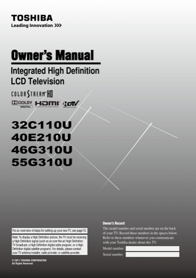 integrated high definition lcd television static highspeedb rh yumpu com toshiba 40e210u service manual Toshiba TV Owners Manual