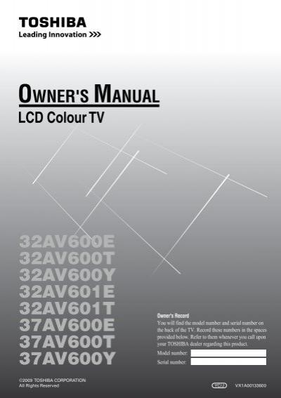 32cv500e 32cv500t 32cv500y 37cv500e toshiba regza rh yumpu com 6.5Hp Tecumseh Engine Manual Toshiba Remote Manuals