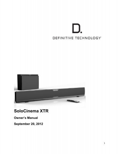definitive technology solocinema studio manual