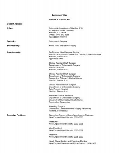 Curriculum Vitae - Orthopedic Associates of Hartford