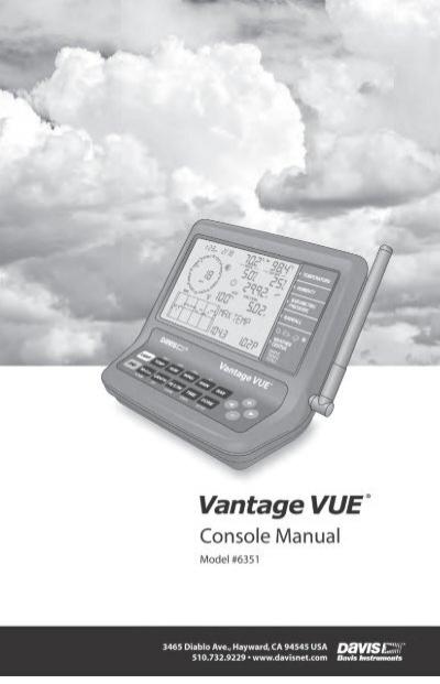 Davis instruments vantage vue console manual pdf download.