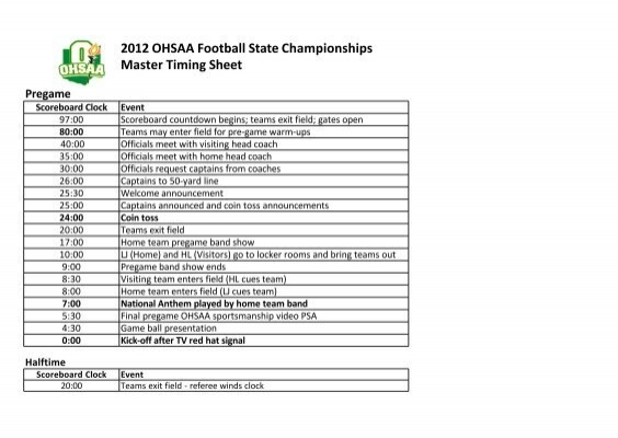 2012 ohsaa football state championships master timing sheet