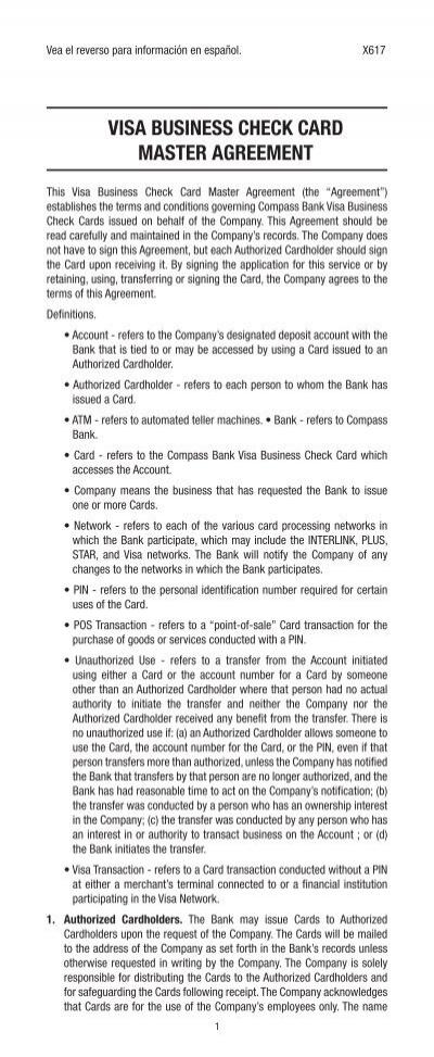 Visa business check card master bbva compass colourmoves