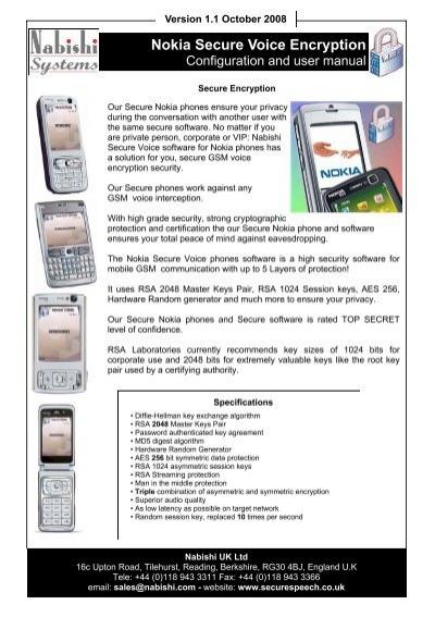 Nokia Secure Voice Encryption Manual -17th October     - Nabishi UK