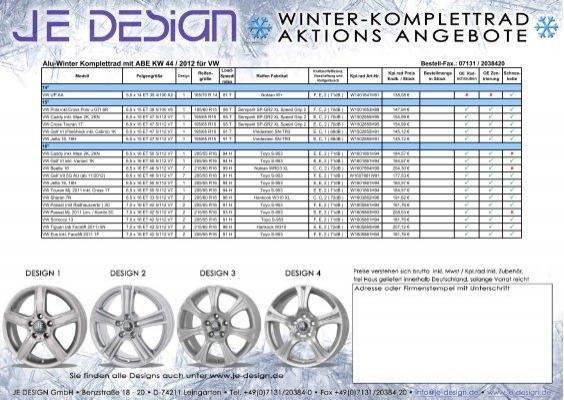 alu winter komplettrad mit abe kw 44 2012 f r vw je design. Black Bedroom Furniture Sets. Home Design Ideas