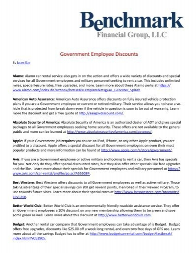 Government Employee Discounts - Benchmark Financial Group