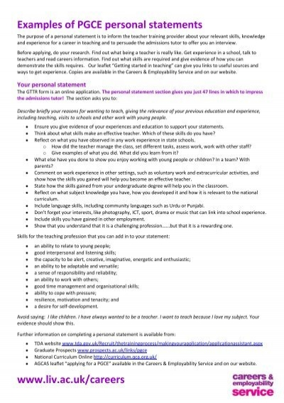 primary school personal statement pgce