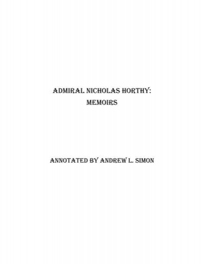 Admiral Nicholas Horthy: MEMOIRS - Corvinus Library - Hungarian ...