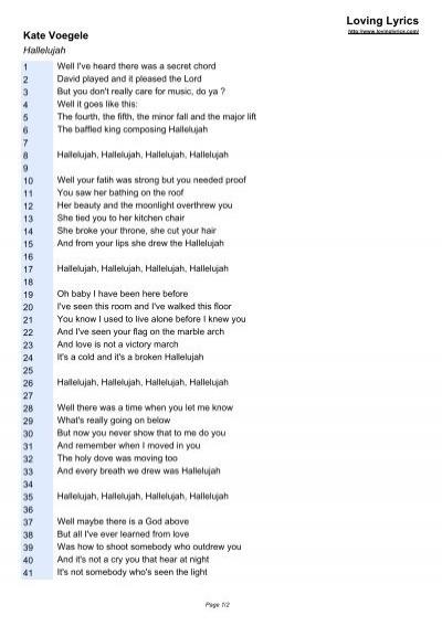 Kate Voegele Hallelujah Loving Lyrics