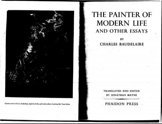 charles baudelaire the painter of modern life essay